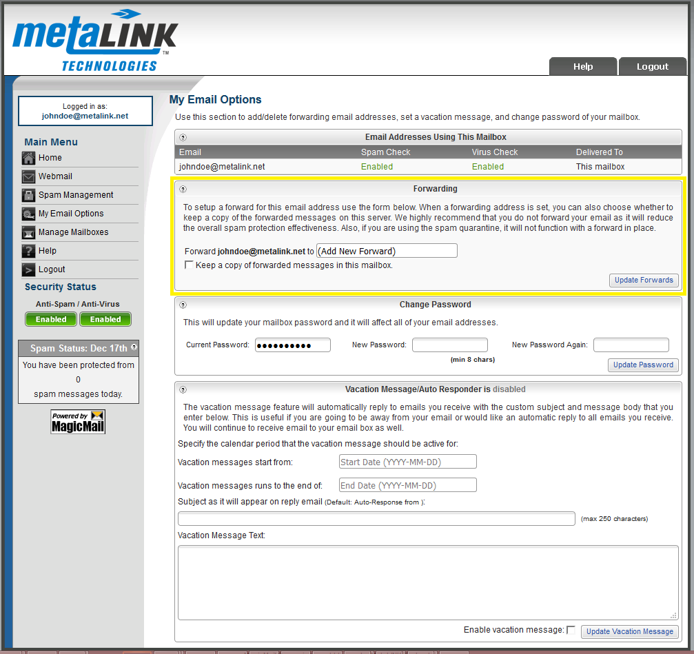 Forwarding Emails - MetaLINK Technologies